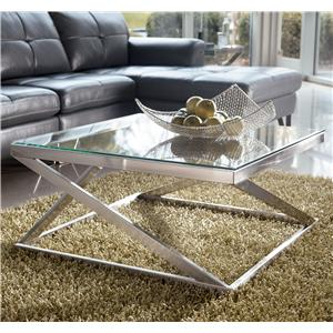 Brushed Metal Square Cocktail Table with Clear Tempered Glass Top