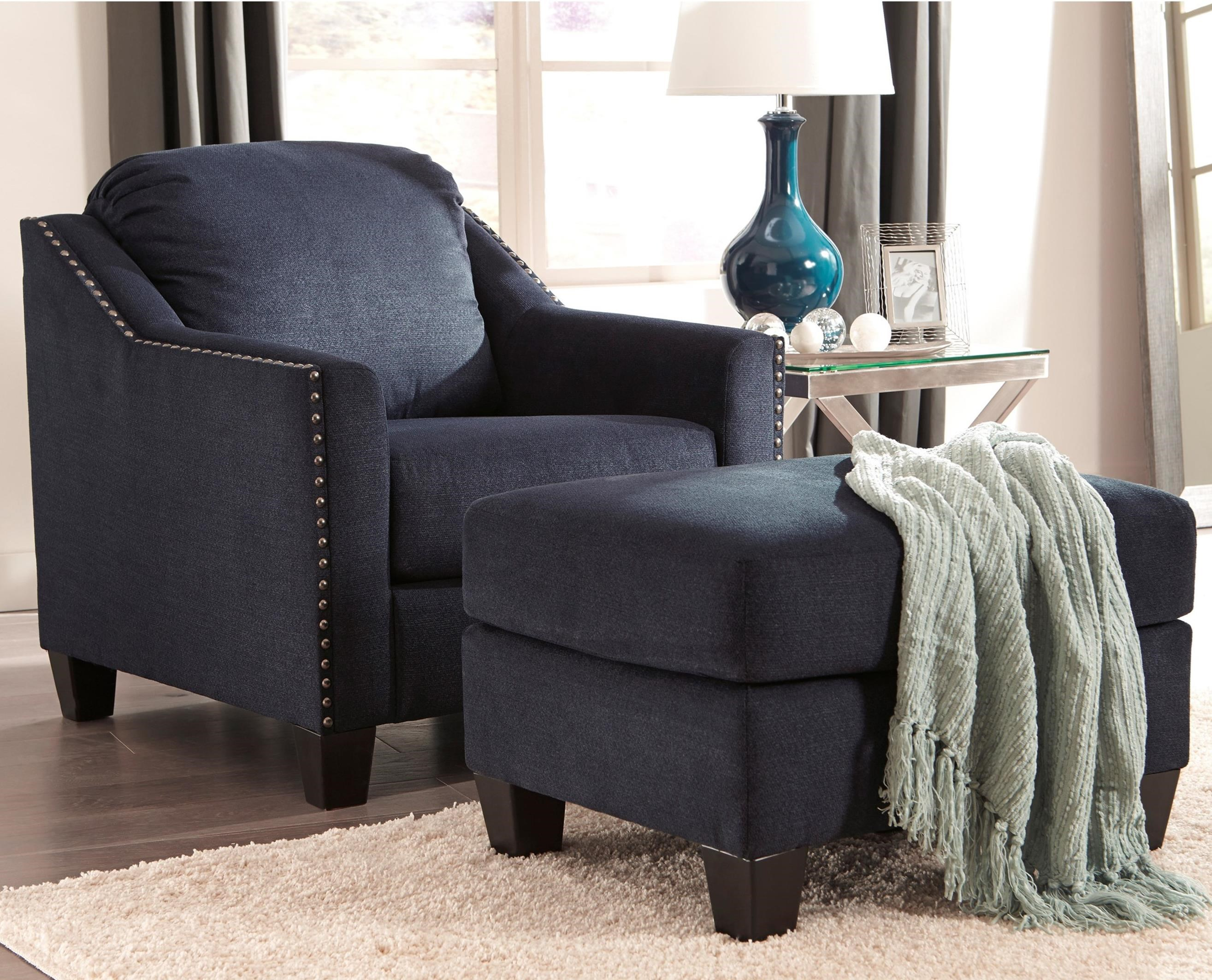 Nailhead Studded Chair And Ottoman Set By Benchcraft