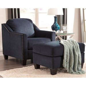 Nailhead Studded Chair And Ottoman Set