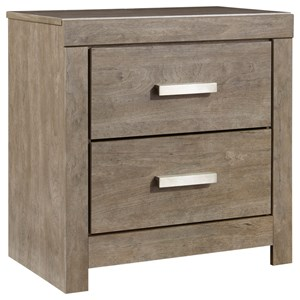 Contemporary Two Drawer Night Stand with USB Ports