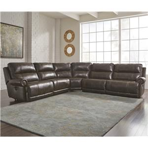 5-Piece Reclining Sectional with Armless Recliner
