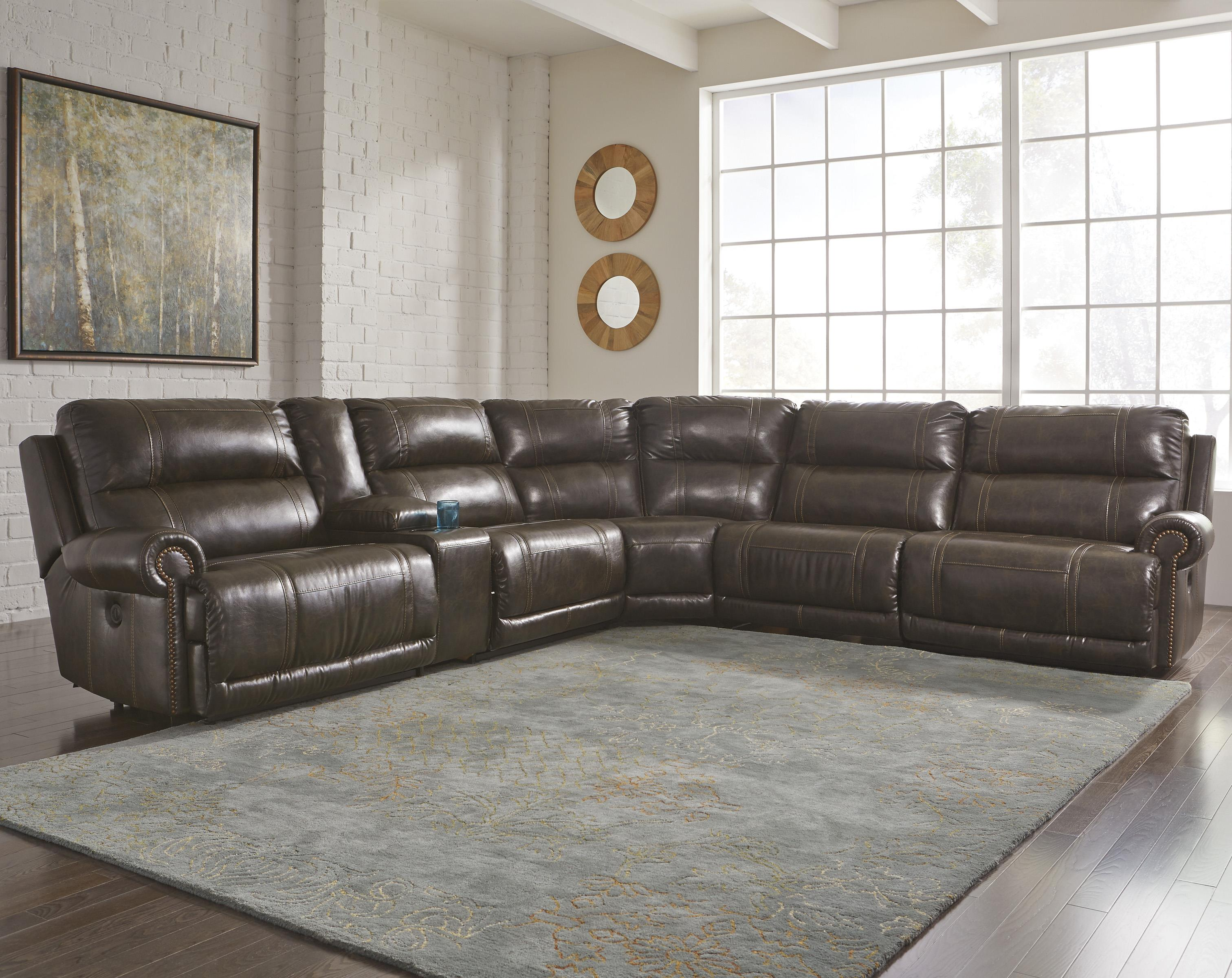 6-Piece Power Reclining Sectional with Storage Console u0026 Armless Recliner : sectional power recliner - Sectionals, Sofas & Couches