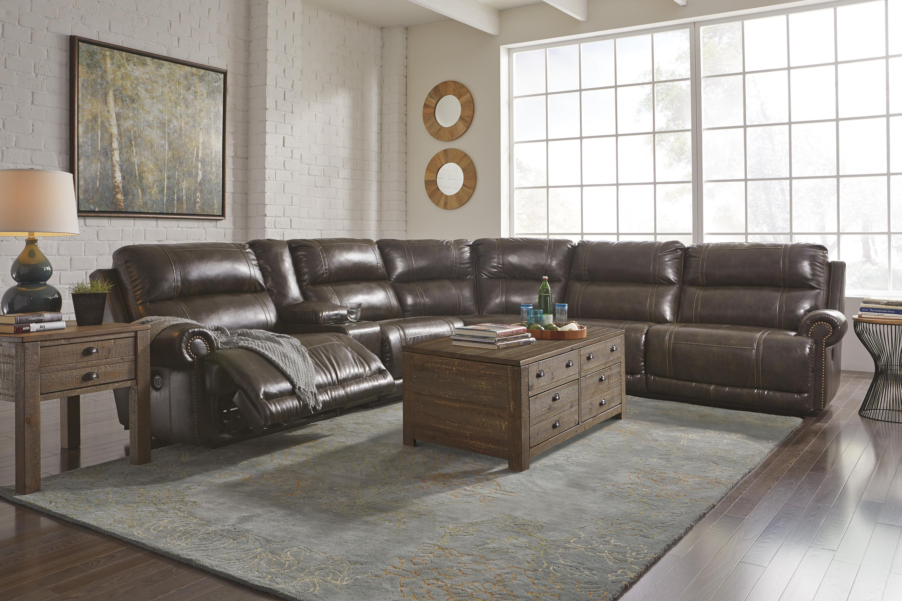 6 Piece Power Reclining Sectional With Storage Console Armless Recliner By Signature Design By