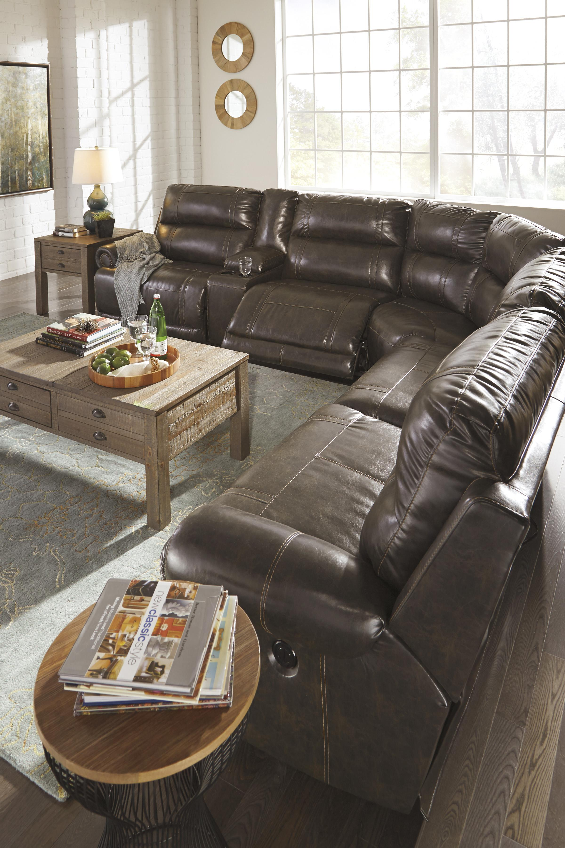 6 Piece Power Reclining Sectional With Storage Console Amp Armless Recliner By Signature Design By