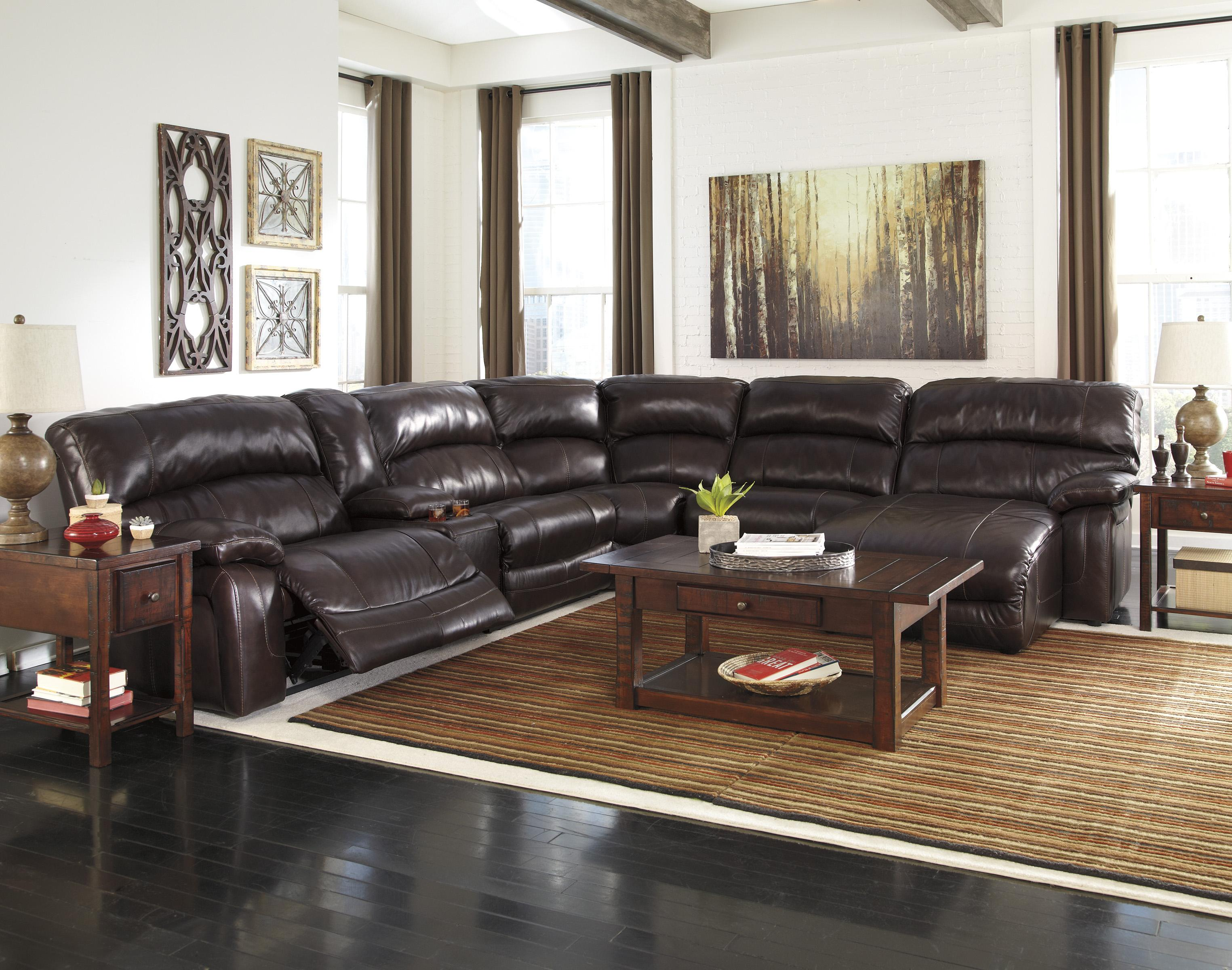 Reclining Sectional w Console & Right Press Back Chaise by