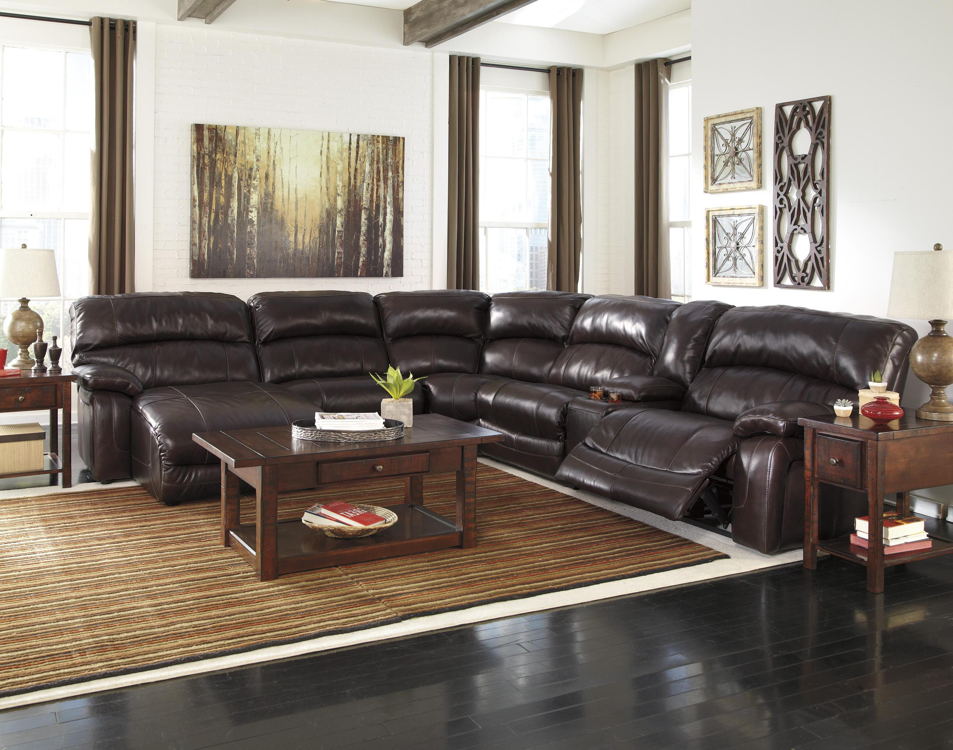 Reclining sectional w console right press back chaise for Ashley reclining sectional with chaise
