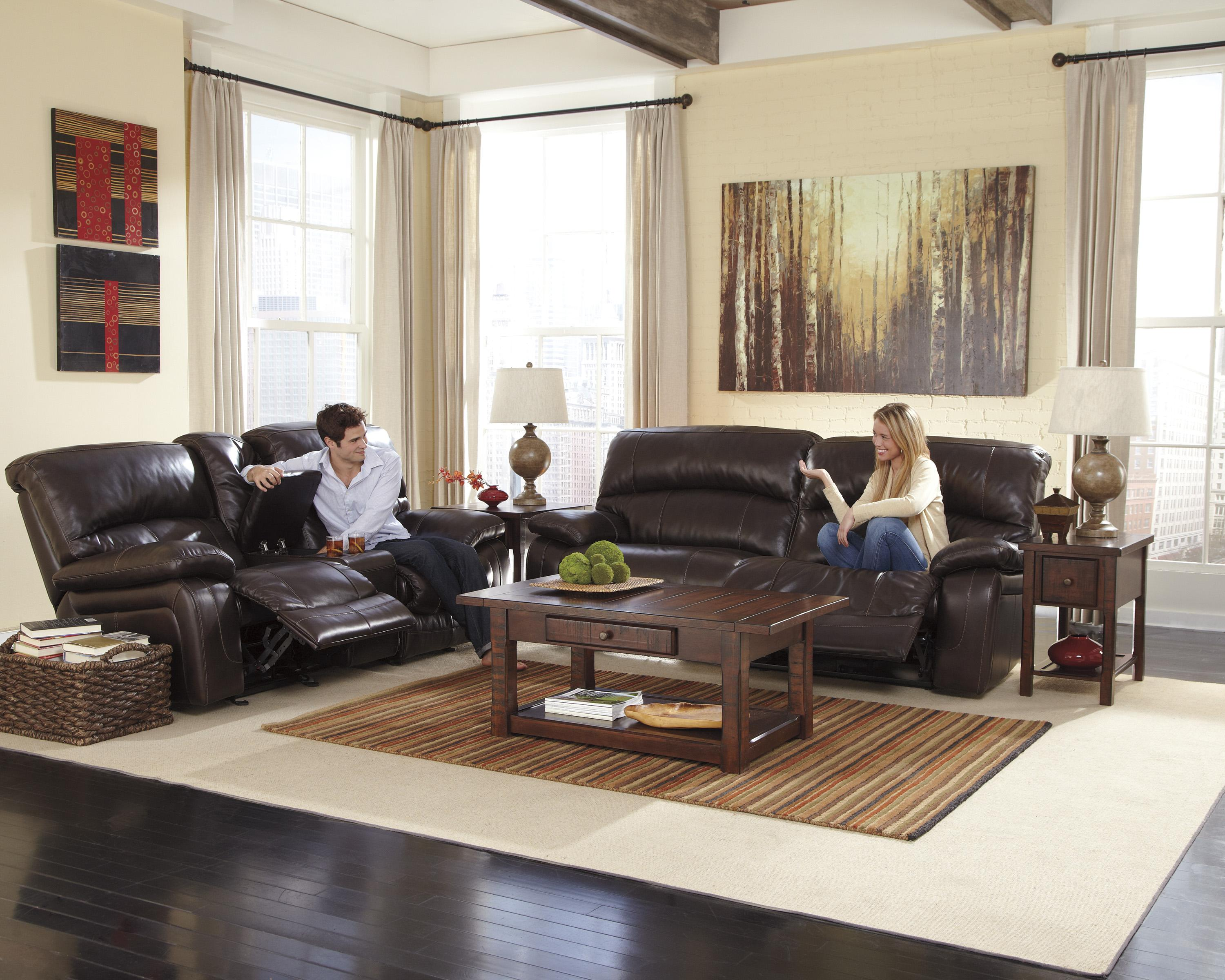 Leather Match 2 Seat Reclining Sofa By Signature Design By Ashley Wolf And Gardiner Wolf Furniture