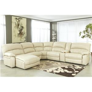 Signature Design by Ashley Damacio - Cream Rec Sectional w/ Console & Press Back Chaise