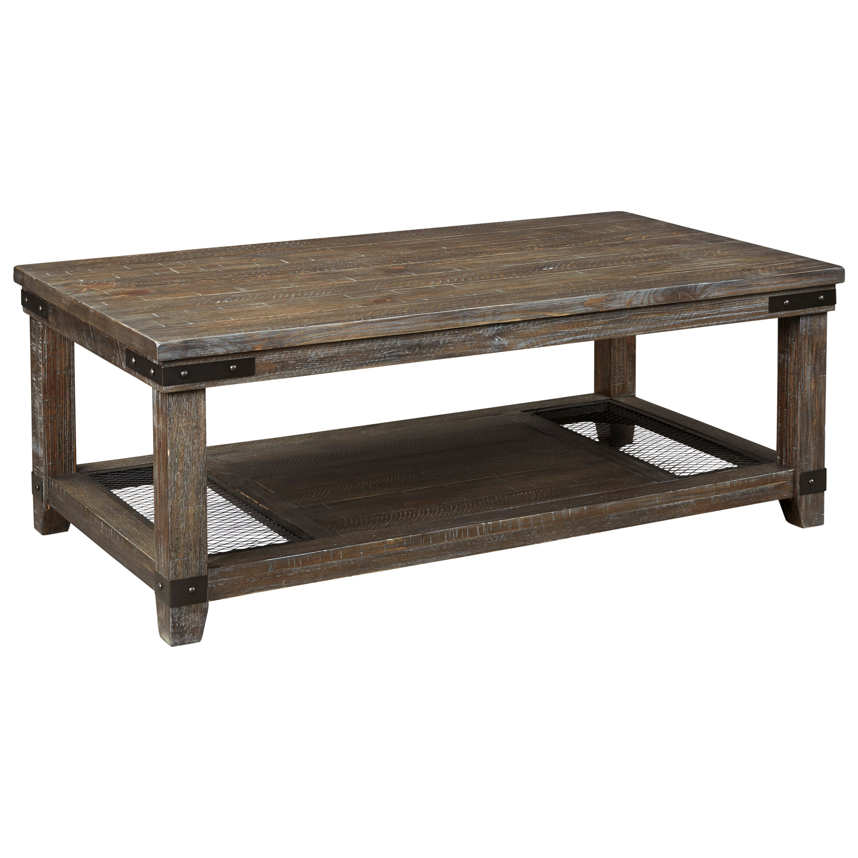 Rustic Rectangular Cocktail Table with Metal Accents