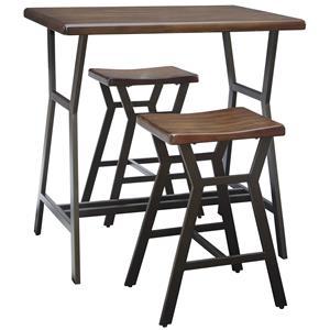 Metal/Wood Rectangular Dining Room Counter Table Set