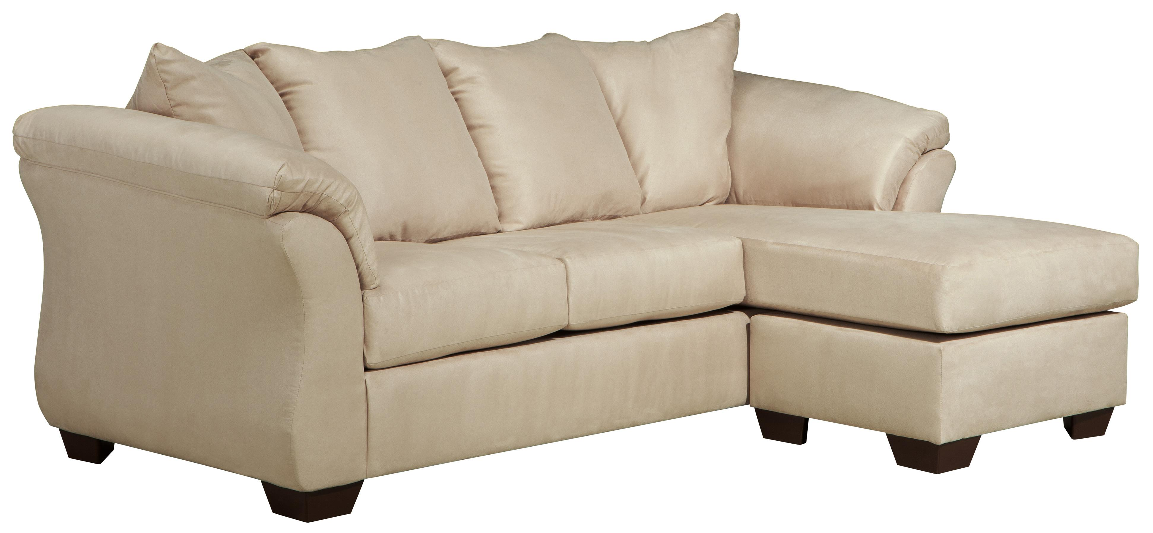 Contemporary sofa chaise with flared back pillows by for Ashley furniture sofa chaise