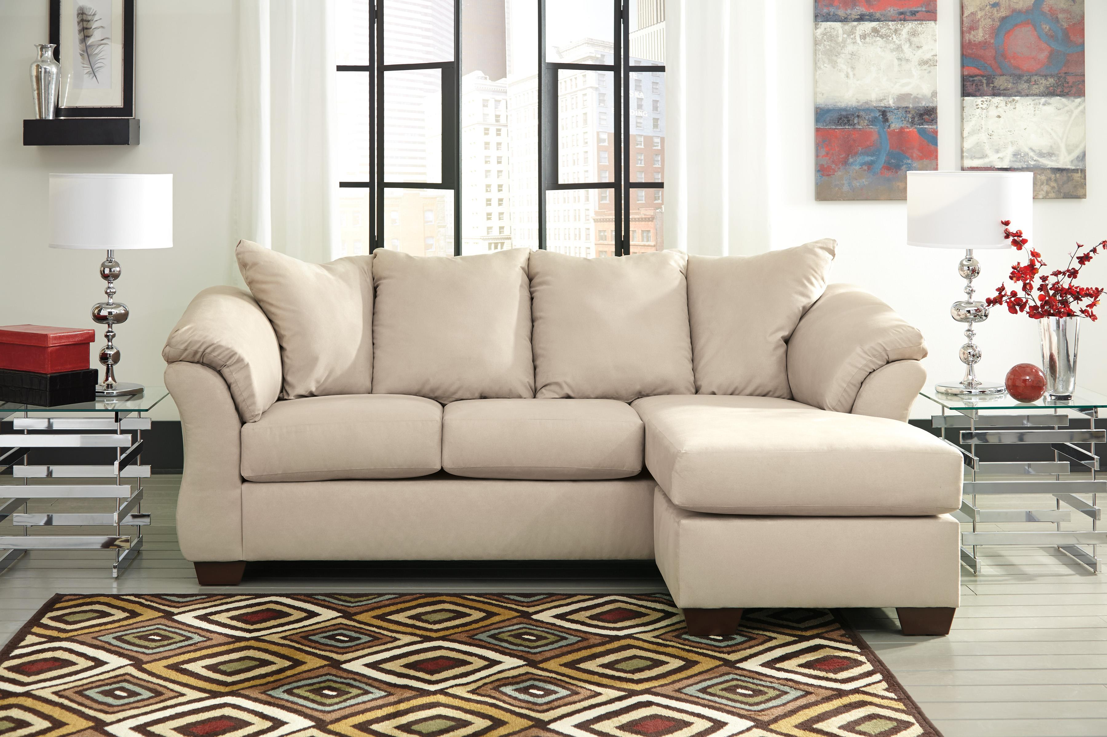 Contemporary sofa chaise with flared back pillows by for Ashley sofa with chaise
