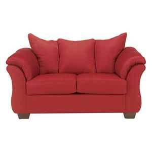 Beau Contemporary Stationary Loveseat With Flared Back Pillows