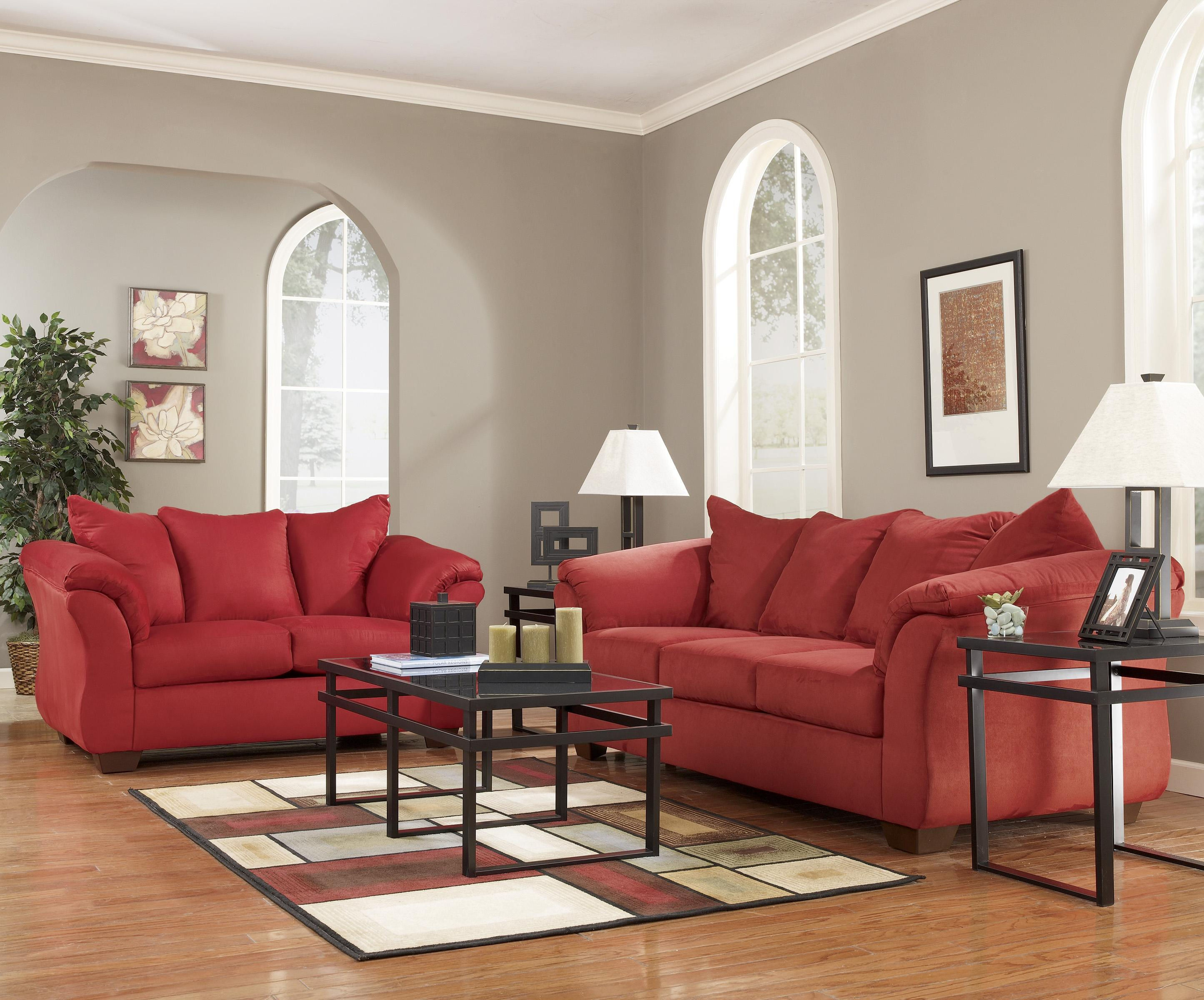 Contemporary Stationary Sofa With Flared Back Pillows By