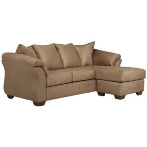 Contemporary Sofa Chaise with Flared Back Pillows