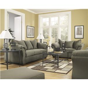 Signature Design by Ashley Furniture Darcy - Sage Stationary Living Room Group