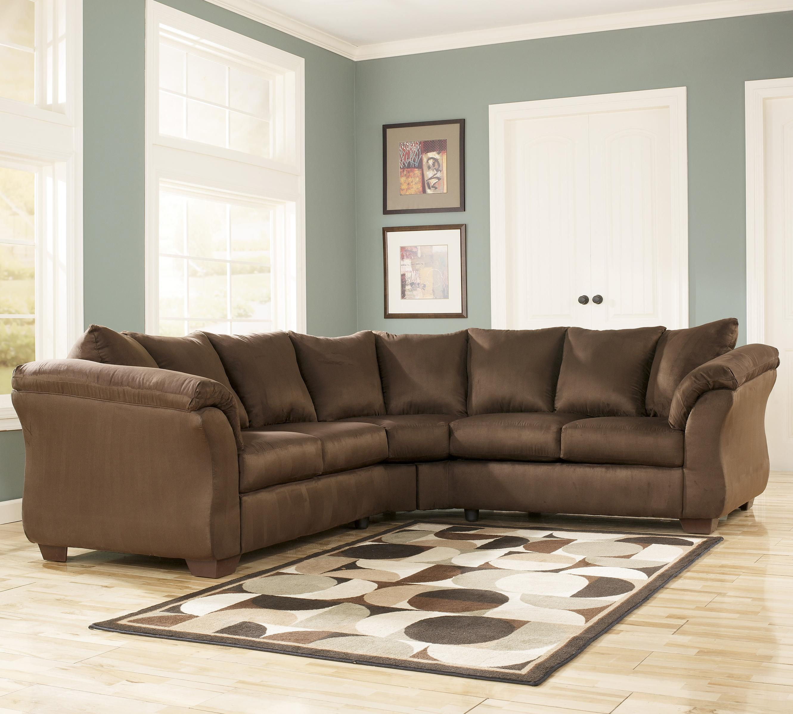Contemporary Sectional Sofa with Sweeping Pillow Arms by Signature ...