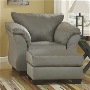 Signature Design by Ashley Darcy - Cobblestone Upholstered Chair and Ottoman