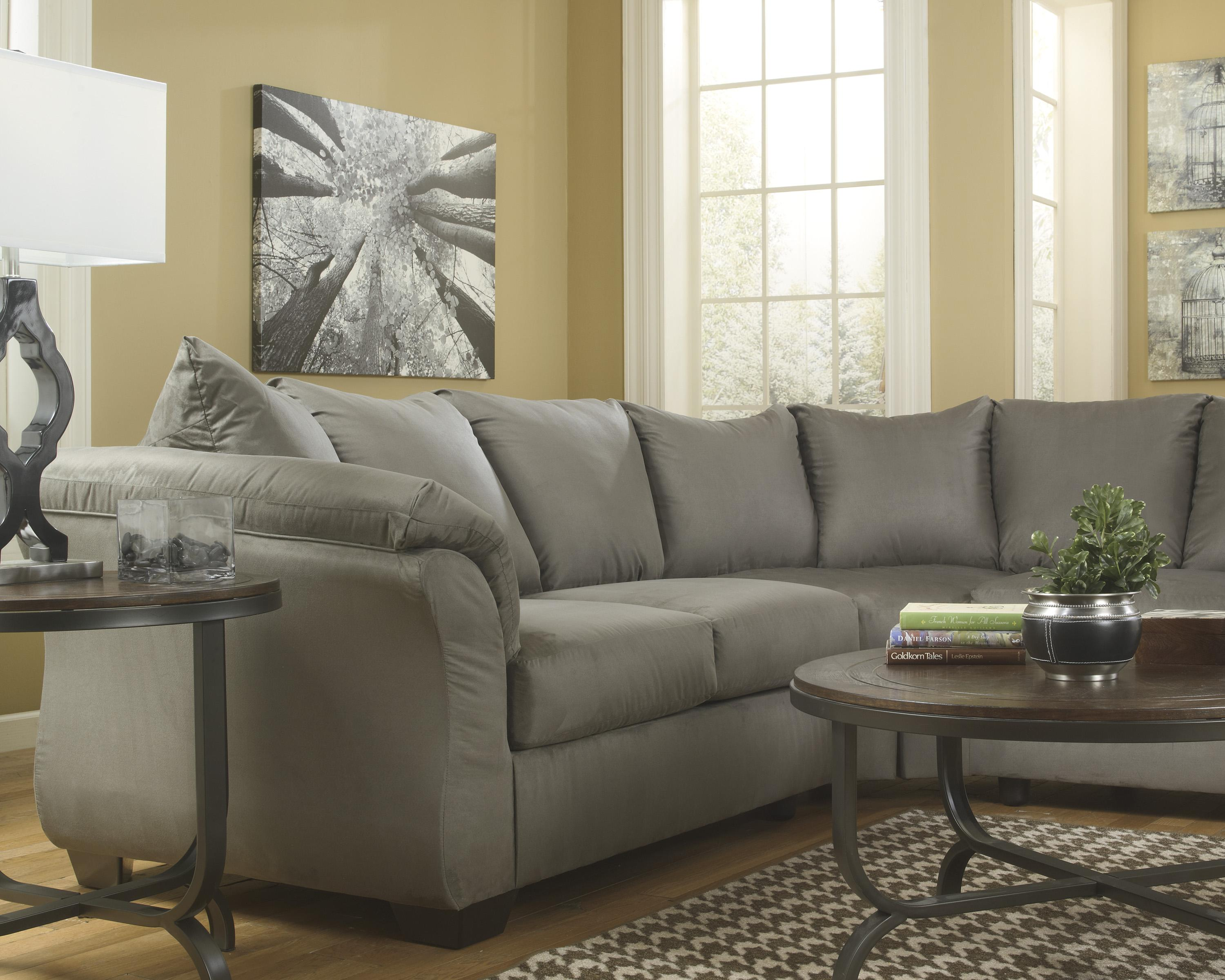 Contemporary Sectional Sofa with Sweeping Pillow Arms by Signature