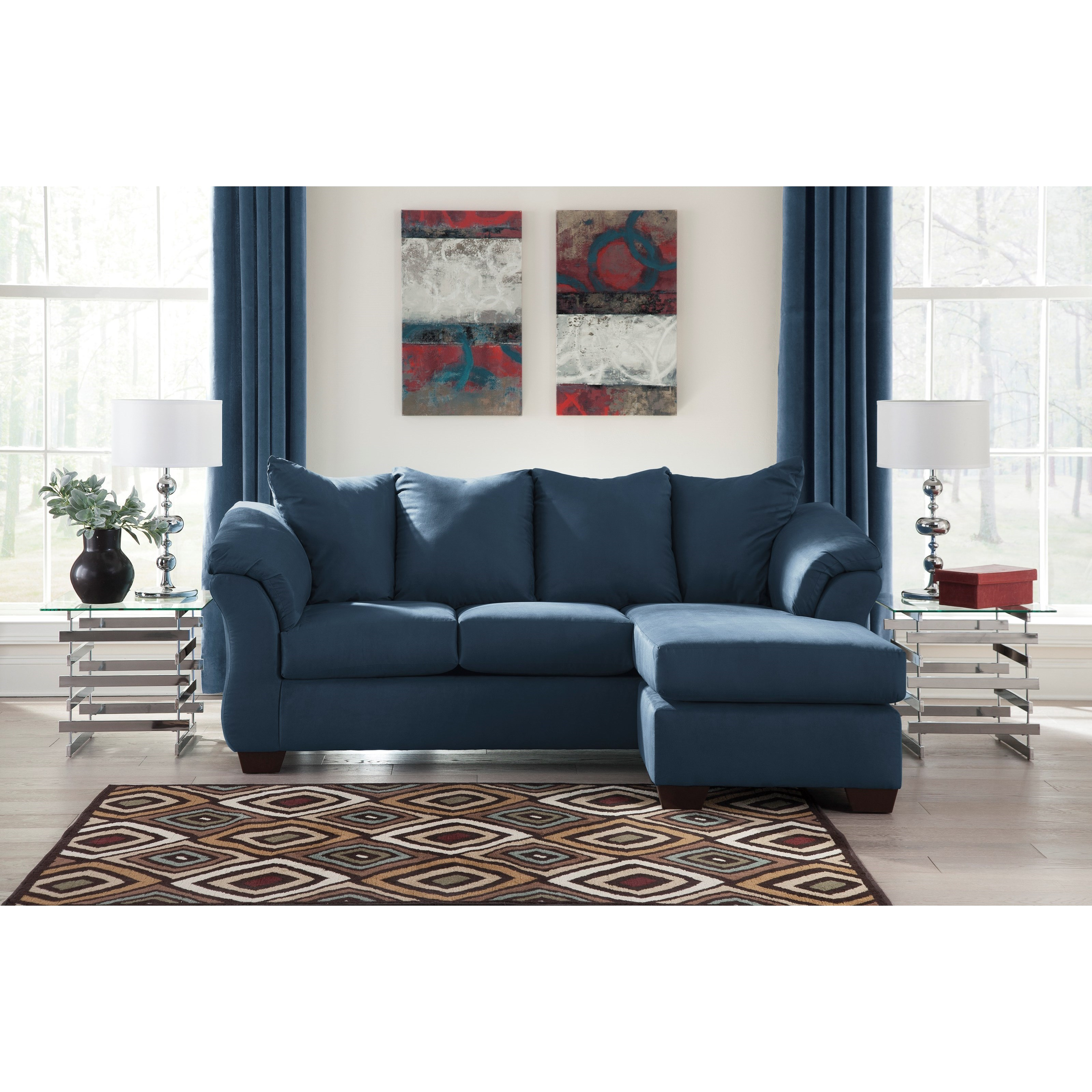 Contemporary Sofa Chaise With Flared Back Pillows By
