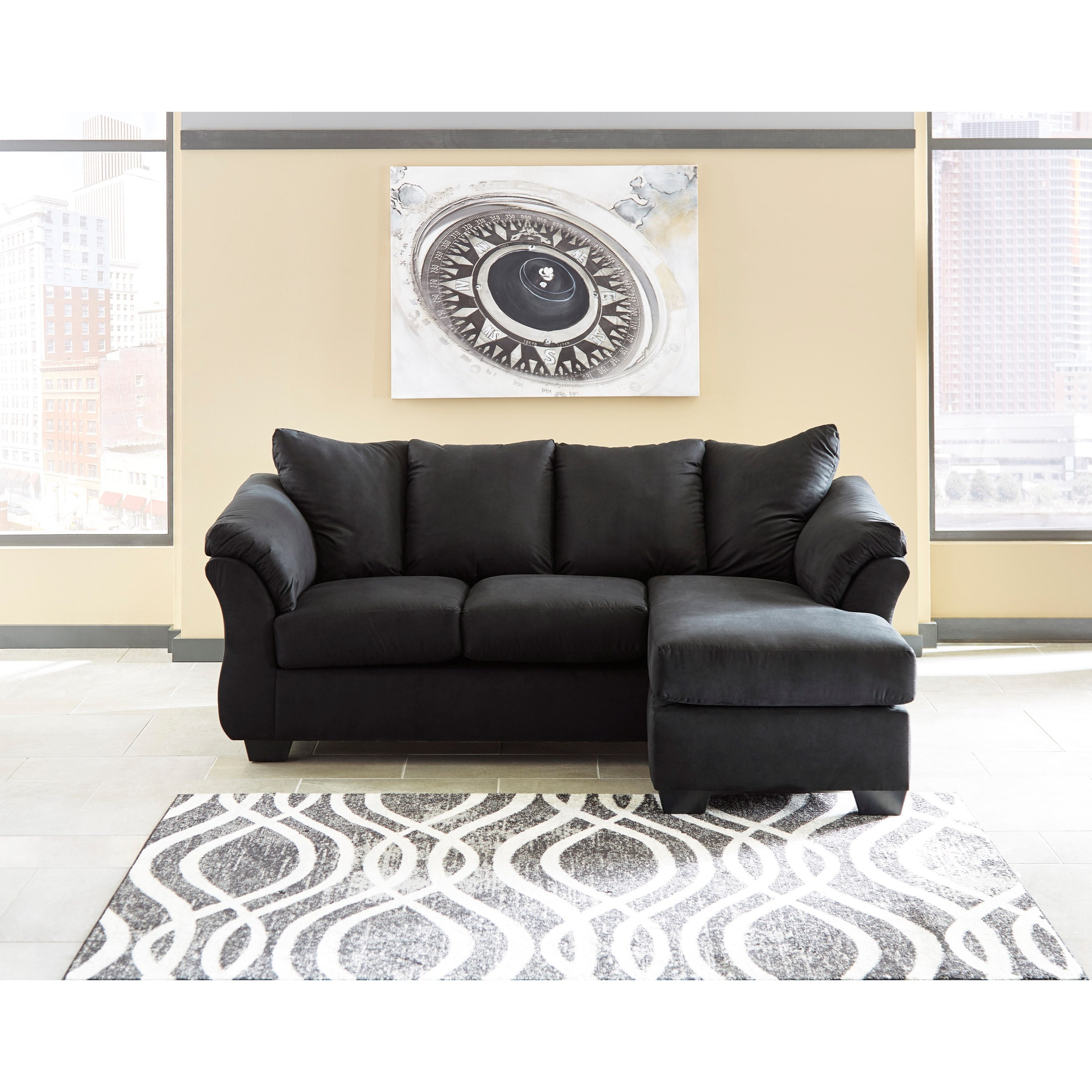 Pillows For Sectional Sofa: Contemporary Sofa Chaise With Flared Back Pillows By