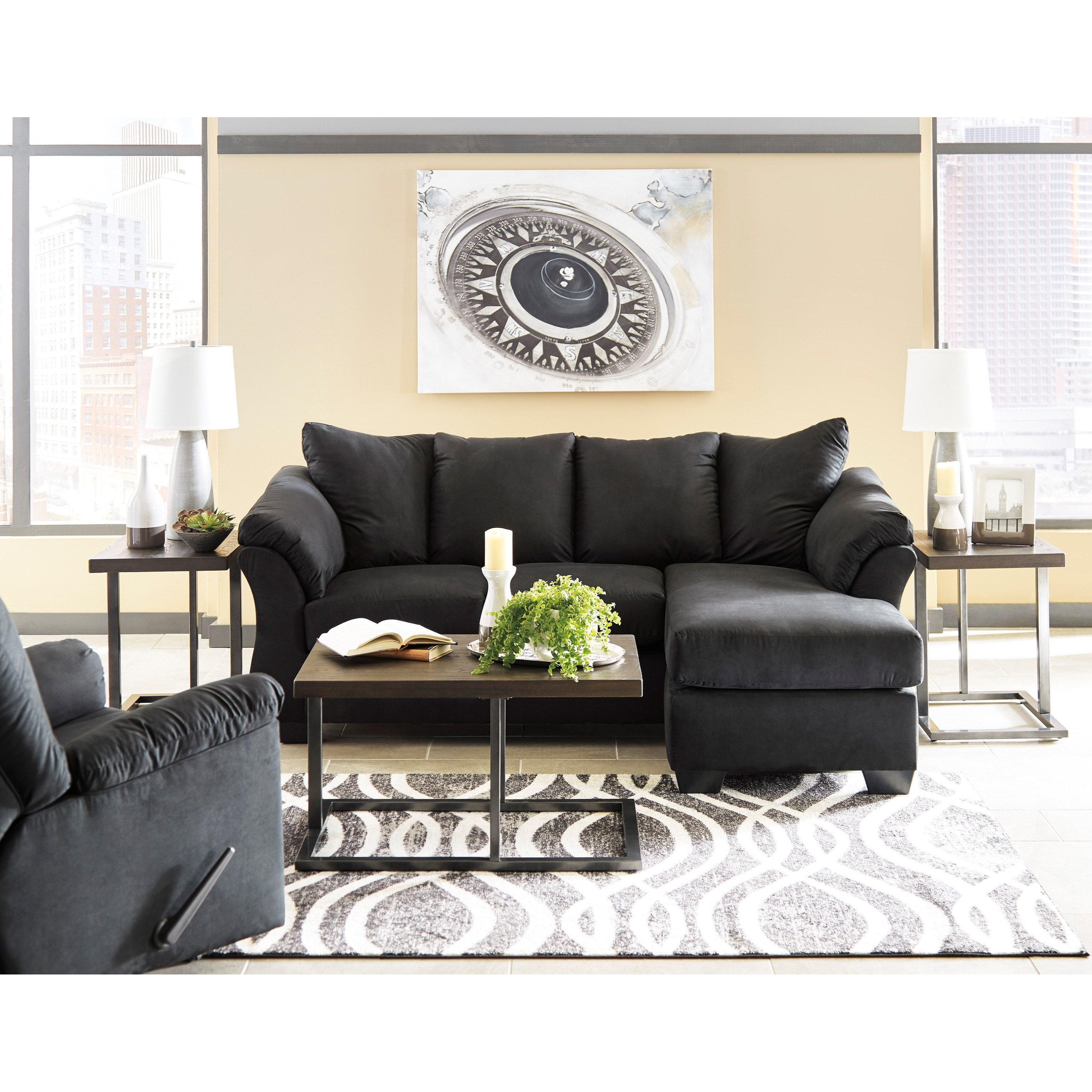Sofa Pillows Contemporary: Contemporary Sofa Chaise With Flared Back Pillows By