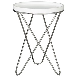 Round End Table with Chrome Base