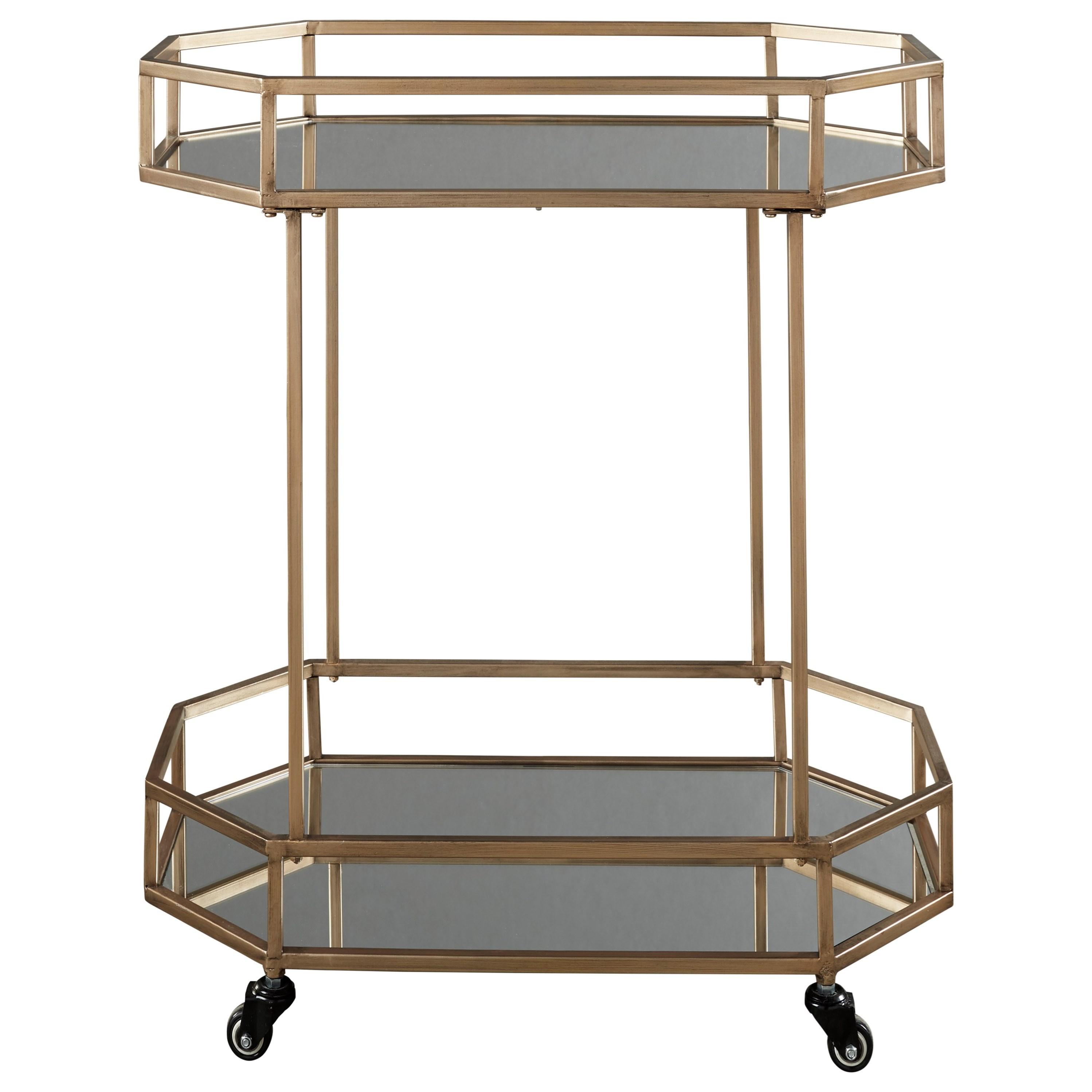 Metal Bar Cart with Mirror Shelves