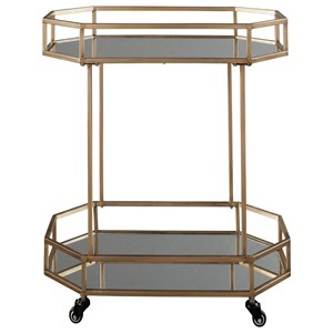 Metal Bar Cart with Mirror Shelves