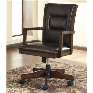Home Office Desk Chair with Exposed Wood Arms