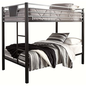 Twin/Twin Metal Bunk Bed w/ Ladder