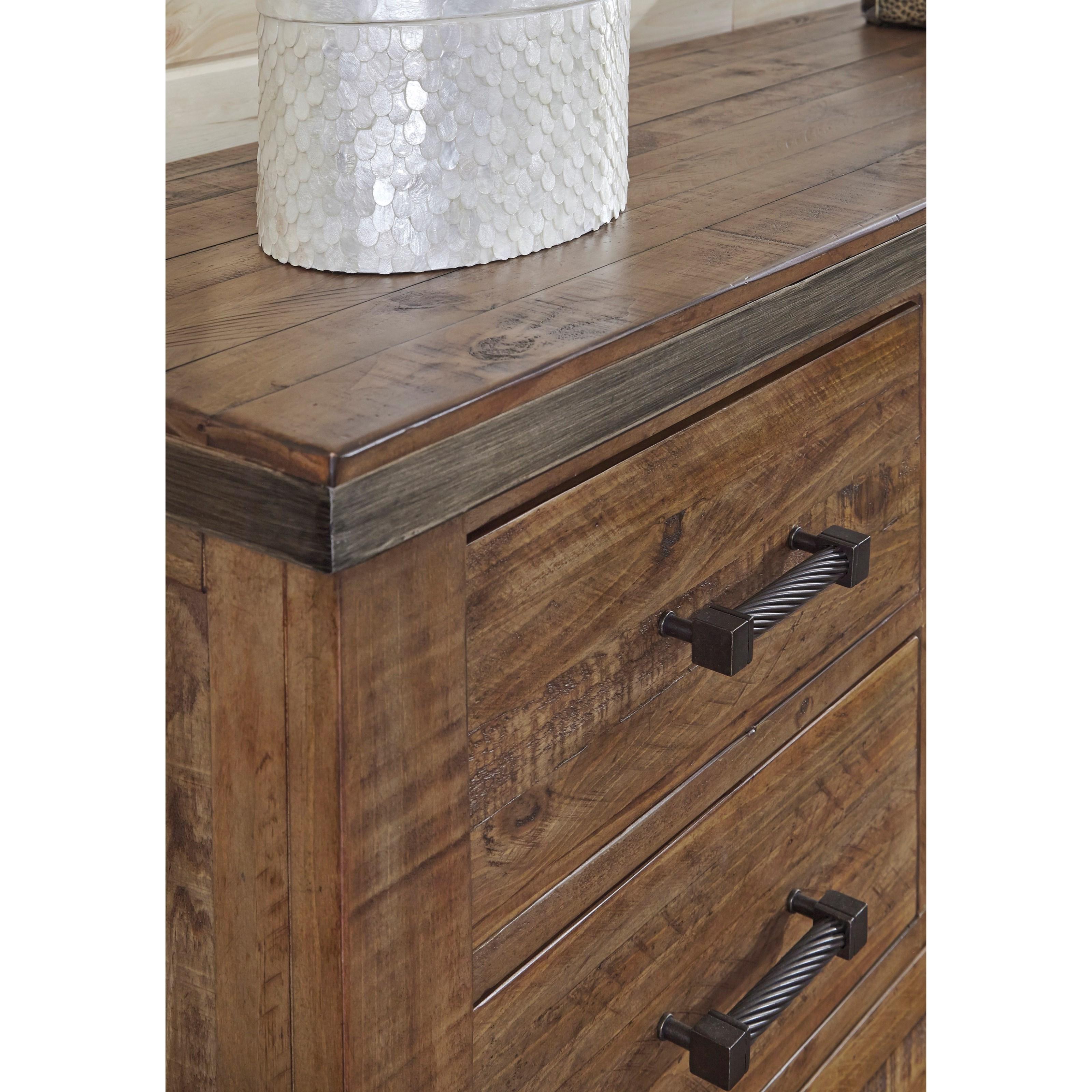 Modern Rustic Solid Wood Dresser With Metal Legs And Metal Banding
