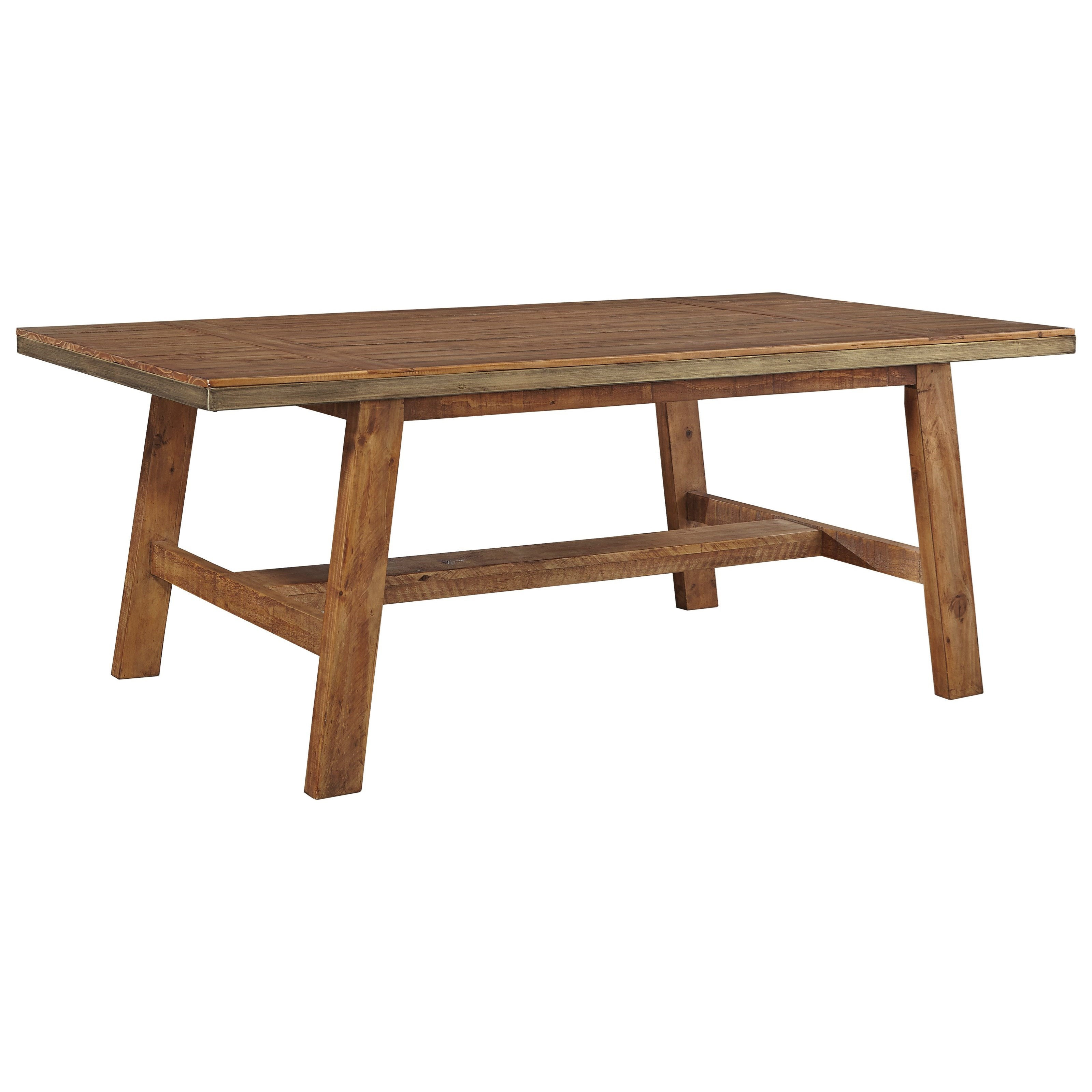 Solid Wood Rectangular Dining Room Table with Trestle Base Plank