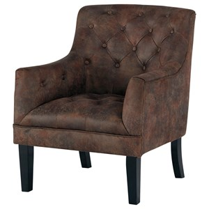 Tufted Accent Chair in Distressed Brown Faux Leather