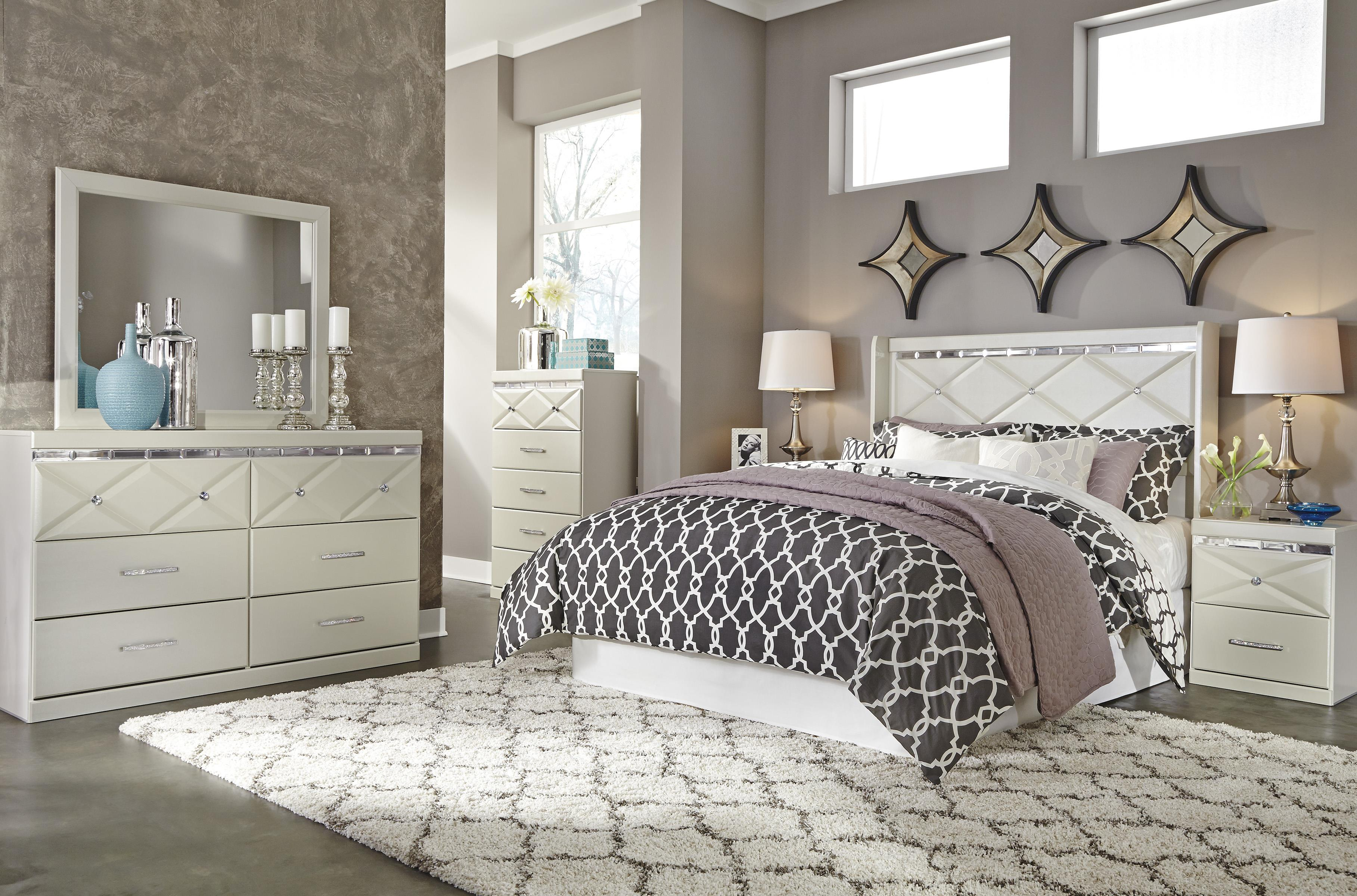 6 Drawer Dresser with Faux Crystal Accents by Signature Design by