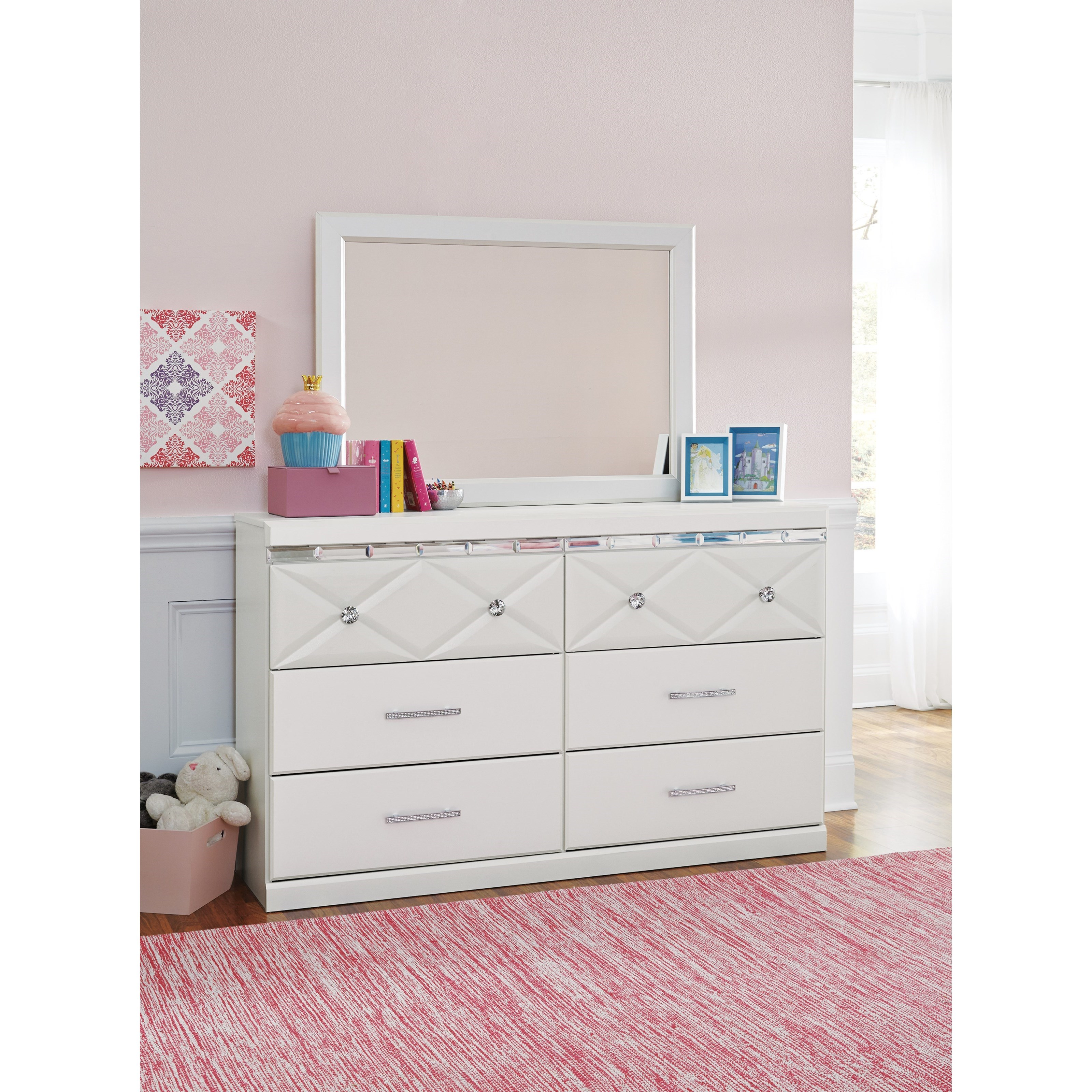 6 Drawer Dresser With Faux Crystal Accents By Signature