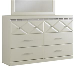 6-Drawer Dresser with Faux Crystal Accents