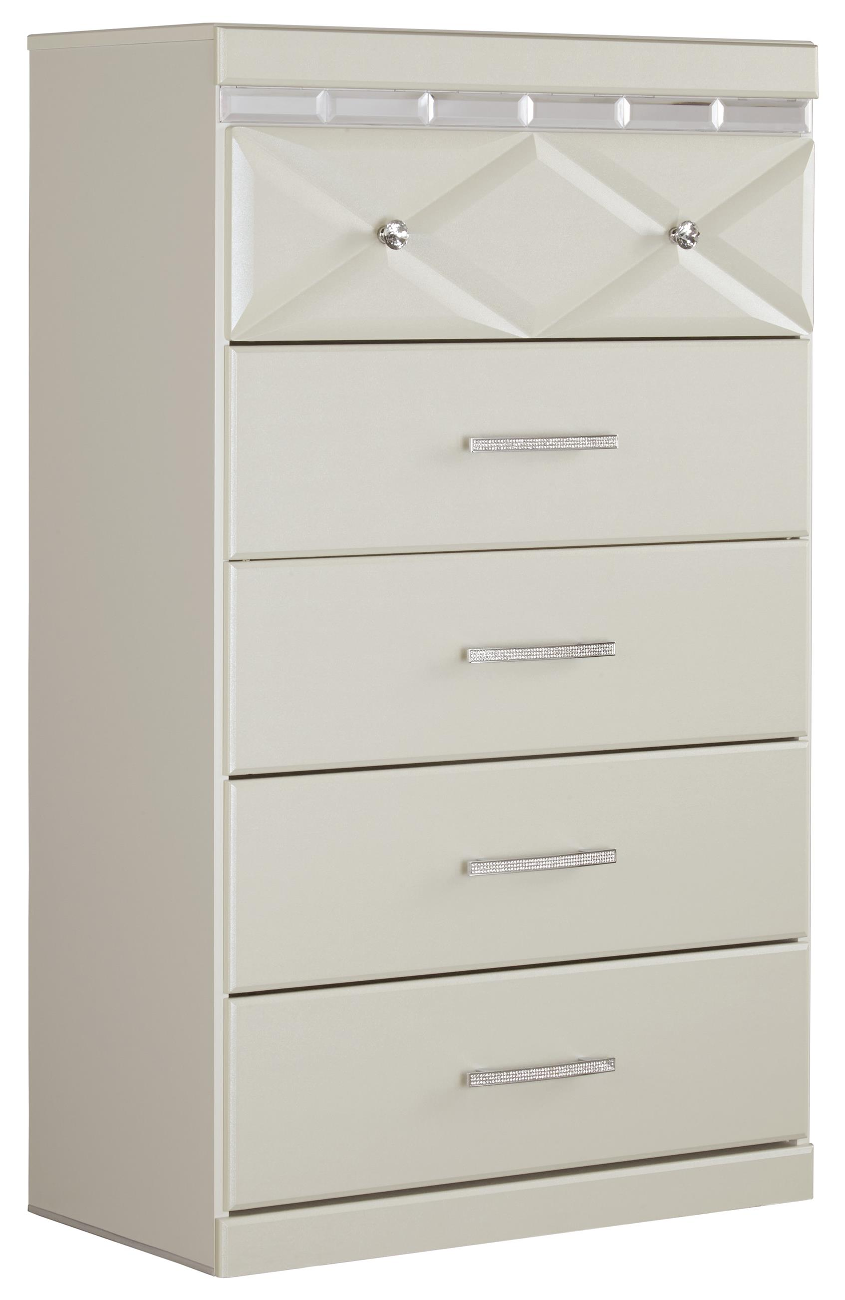 Five Drawer Chest with Faux Crystal Accents