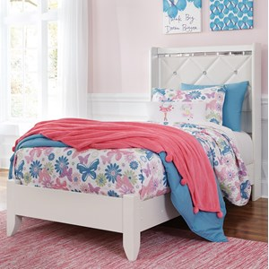Twin Panel Bed with Faux Crystals