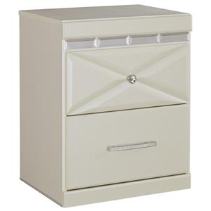 Two Drawer Night Stand with Dual USB Charger & Faux Crystal Accents