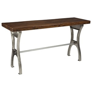 Sofa Table with Iron Base and Solid Wood Top