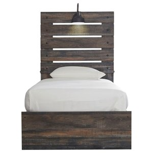 Rustic Twin Panel Bed with Industrial Light