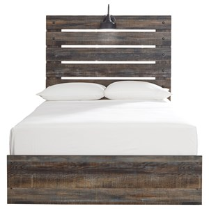 Rustic Full Panel Bed with Industrial Light