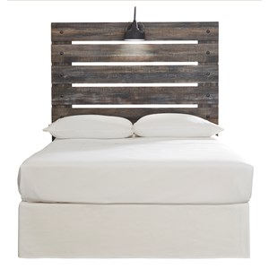 Rustic Full Panel Headboard with Industrial Light