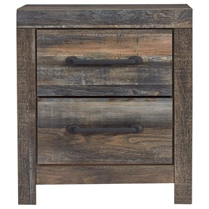 Rustic Two Drawer Nightstand with USB Ports
