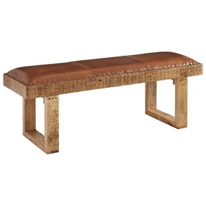 Rustic Mango Accent Bench with Leather Seat