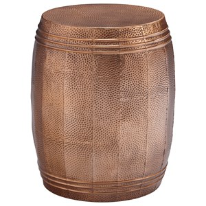 Indoor/Outdoor Accent Stool in Copper Finished Metal