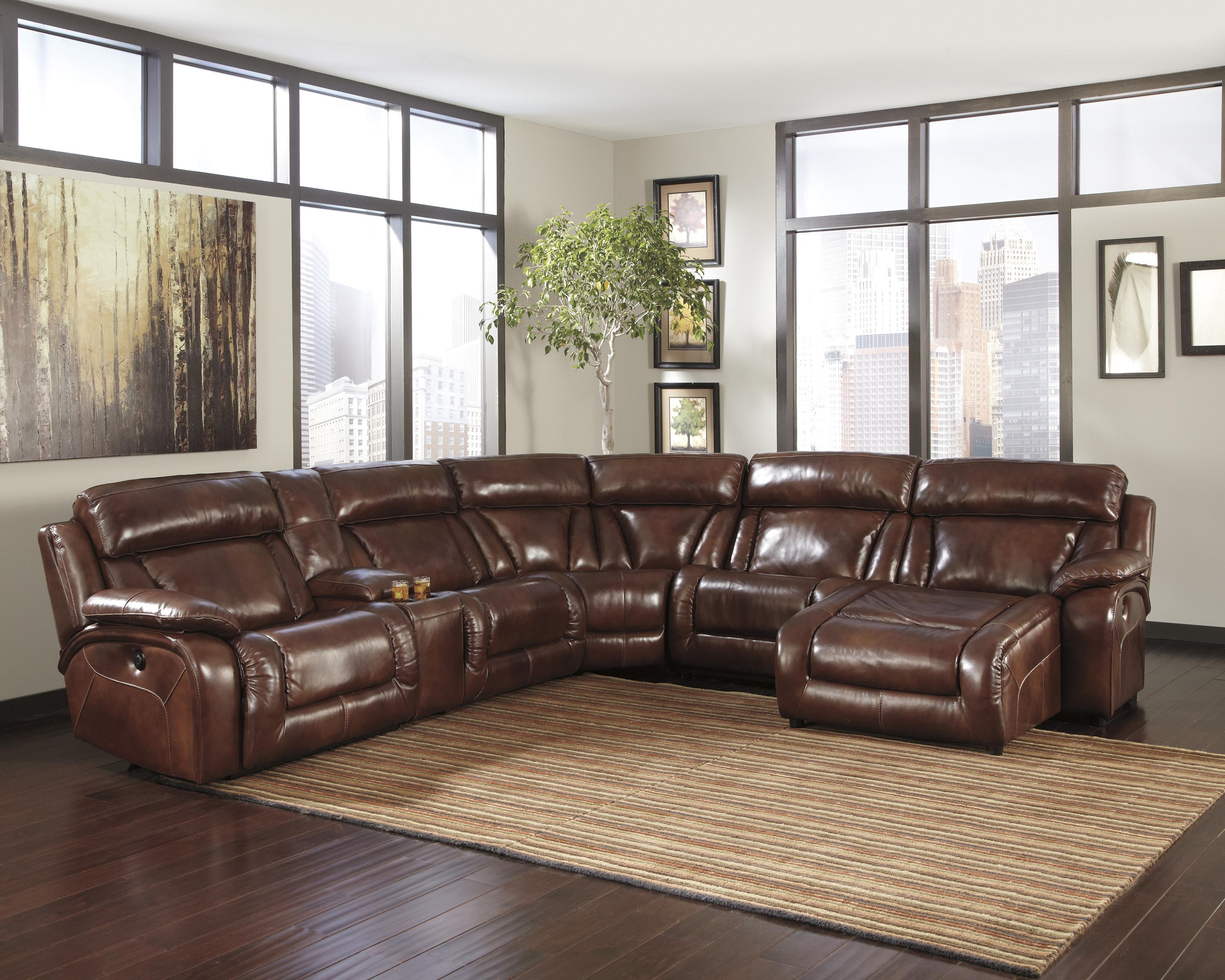Chaise Sectional Recliner Pc Brown Bonded Leather Sectional Sofa
