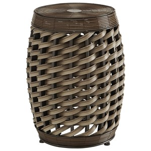 Faux Rattan Indoor/Outdoor Accent Stool/End Table