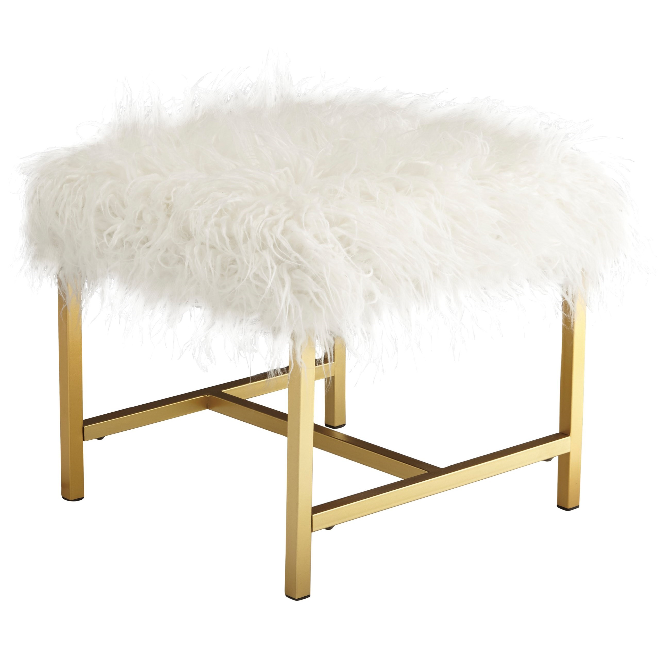Stool with White Faux Fur and Gold Finish Legs
